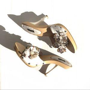Fun Vintage Beaded Flower Petal Heels